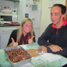Sister Schill and Avelino with Roasted Chestnuts