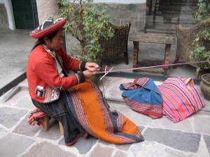 Weaving at the market