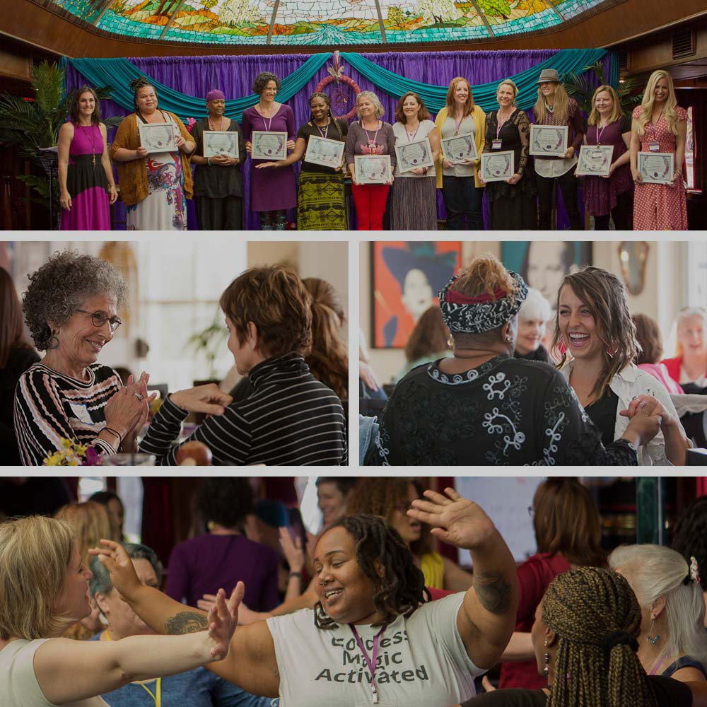 women on stage with a certificate after completing women's circle training