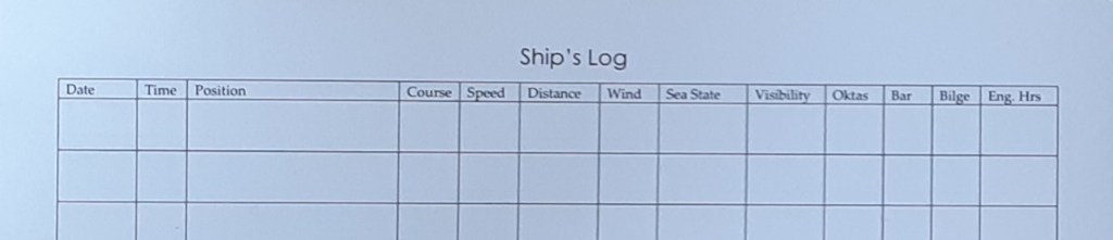 what information should go in your boat's log book