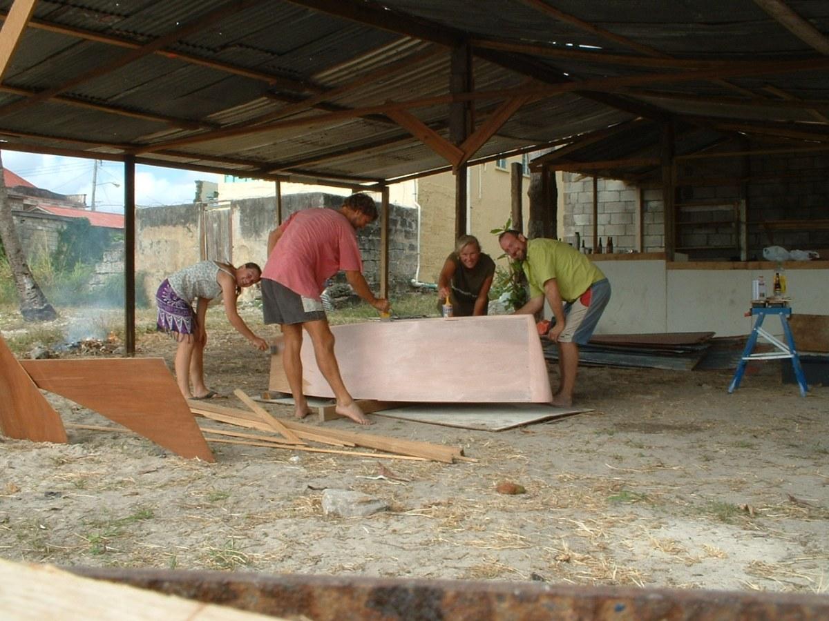 Building a dinghy in Barbados