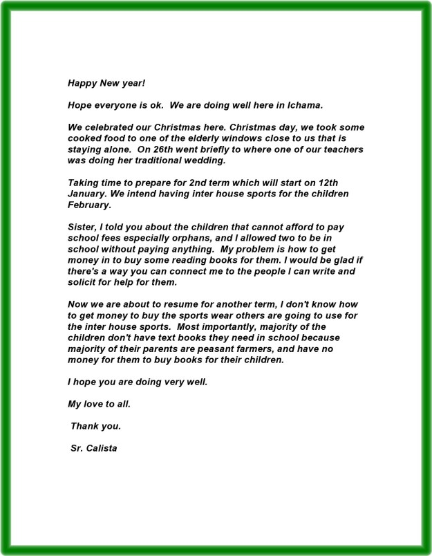 Letter from Sr. Calista 1-5-2015 A