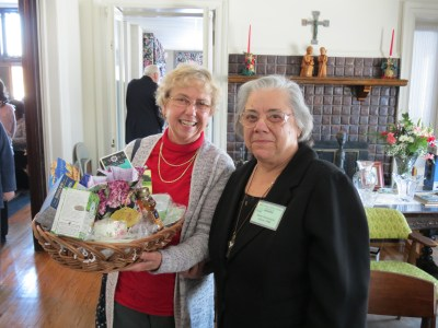 Lorraine Smith, happy winner of tea raffle, and Sister Rosemarie Abate, HVM