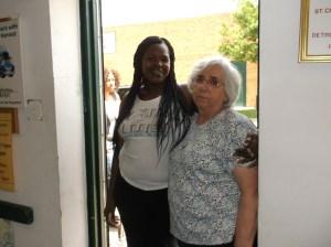 Sr. Fiorentina with guest at door