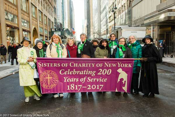 Sisters of Charity New York marching in St Patricks Day parade celebrating 200 years