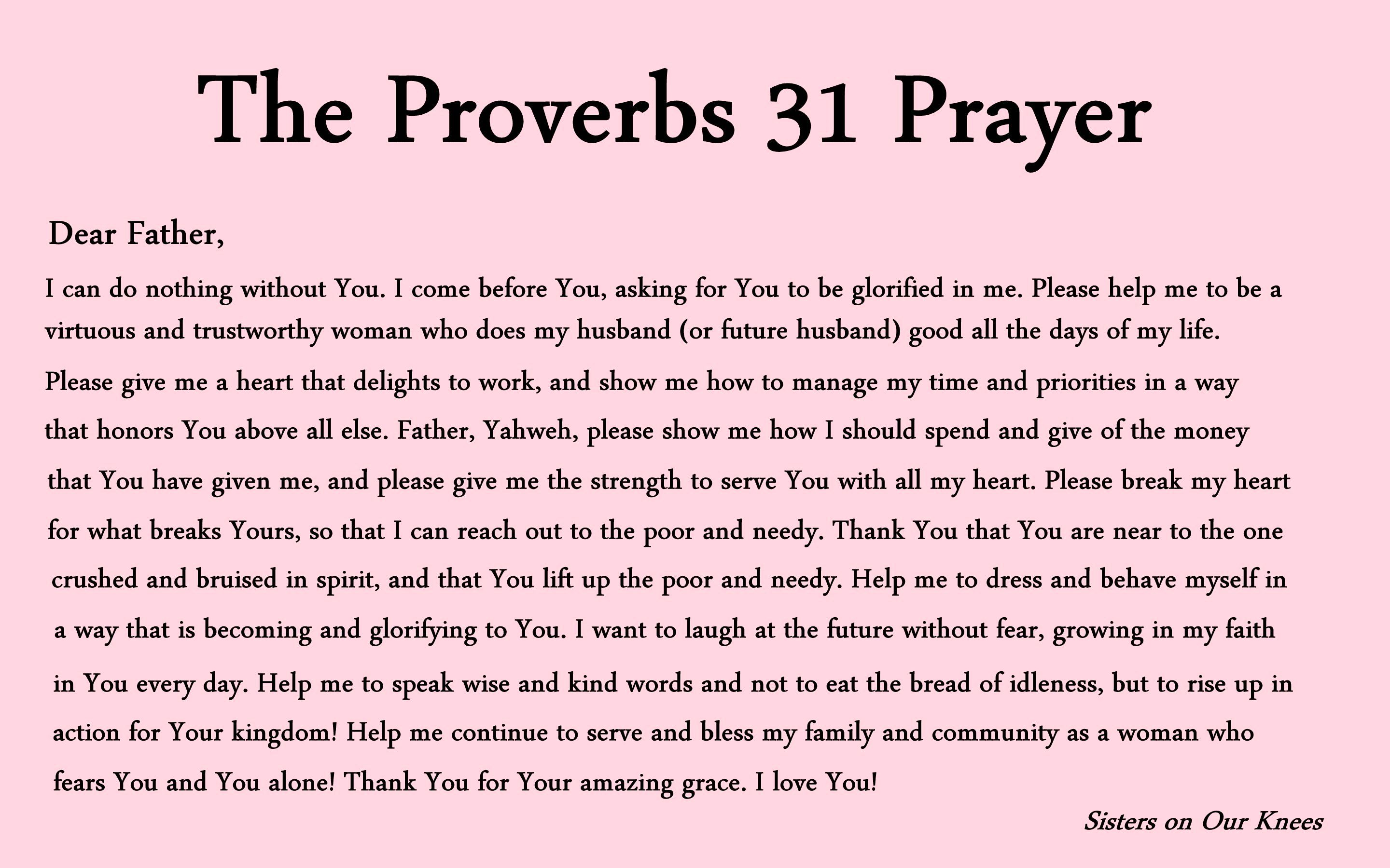 Proverbs 31 Prayers And Printables Sisters On Our Knees