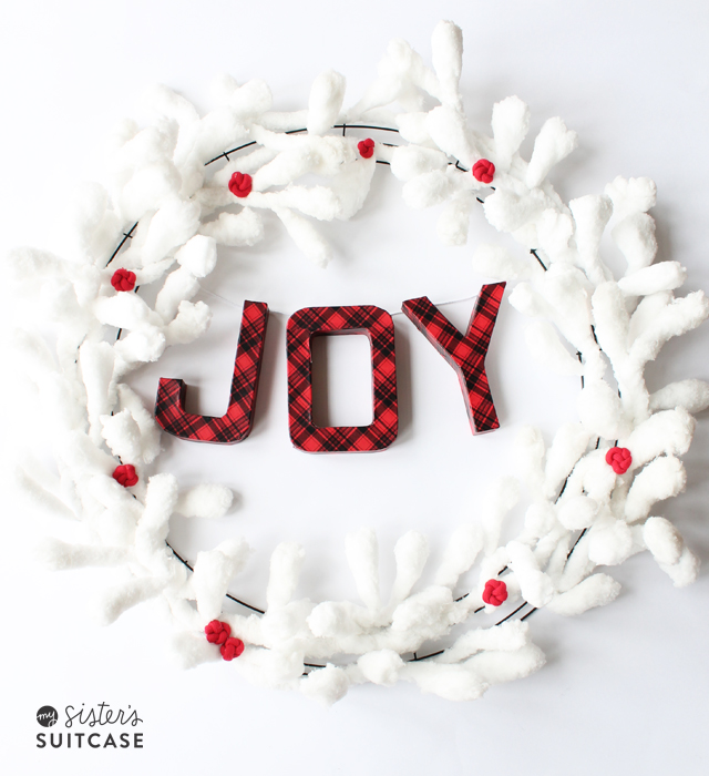 Joy Christmas wreath