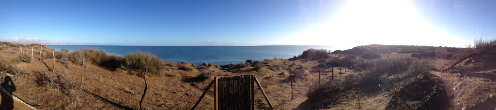 The Sea of Cortéz - brown sand dunes and glistening blue water against a bright blue sky.