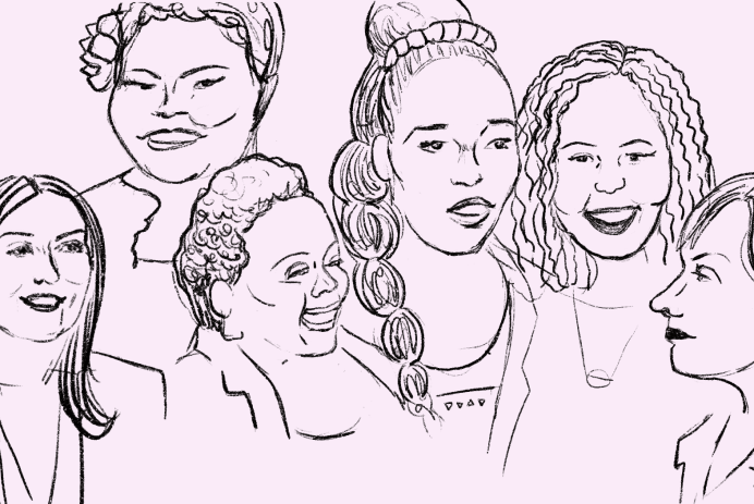 Line drawing of the six women featured in the article. Black lines on a light pink background.