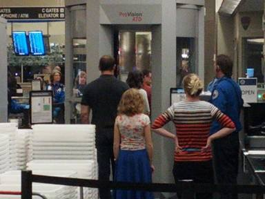 Aubree entering security at the Boise Airport.