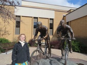 Aubree with biking elders at the MTC.