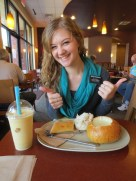In honor of Maddy I got baked potato soup in a bread bowl at Panera