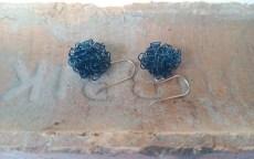 Pompoms earrings, wire earrings