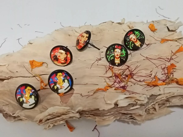 Frida Kahlo Paper on glass earrings