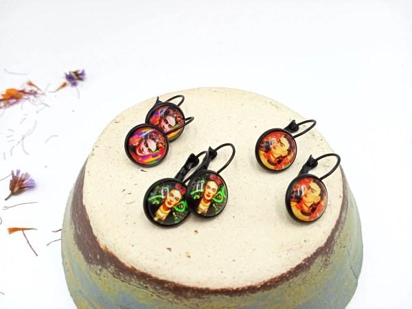 Frida Kahlo Paper on glass earrings