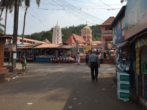 The busy street outside the temple