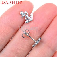925 Sterling Silver See-through Rudder & Anchor Stud Post ...