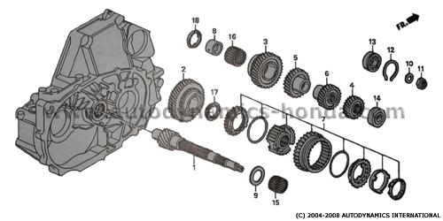 Honda P21 Countershaft Distance Collar Needle Bearing