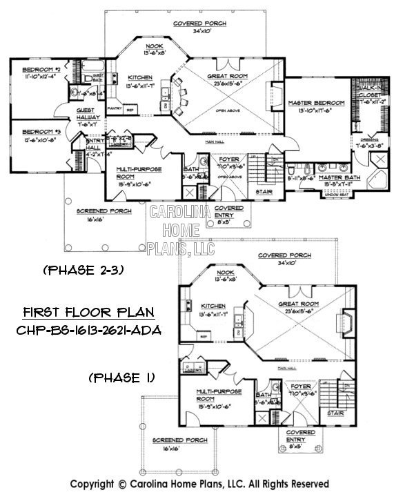 Build-in-Stages 2 Story House Plan BS-1613-2621-AD Sq Ft