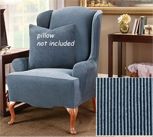 sure fit stretch stripe 2 piece sofa slipcover sand chesterfield malaysia surefit wing chair cover