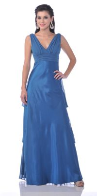 Plus Size Teal Blue Bridesmaid Dress Chiffon V