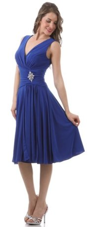 Modest Royal Blue Dress Semi Formal Chiffon Knee Length ...