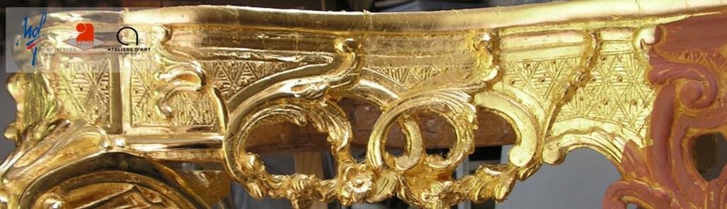 Console XVIIème dorée à la feuille