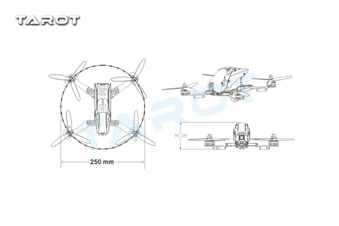 Tarot FPV 250 Carbon Fiber Racing Drone TL250C|MH-TA