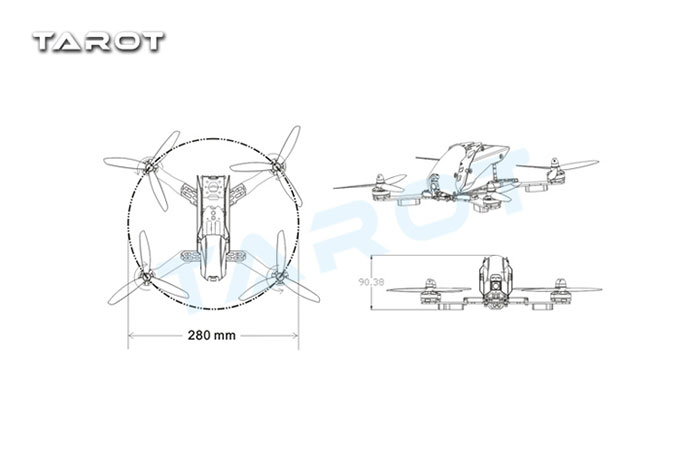 Tarot FPV 280 Carbon Fiber Racing Drone TL280C