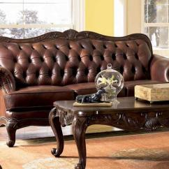 Tufted Leather Sofa With Rolled Arms Black And Grey Bed Elizabeth Traditional Wood Trim | Ebay