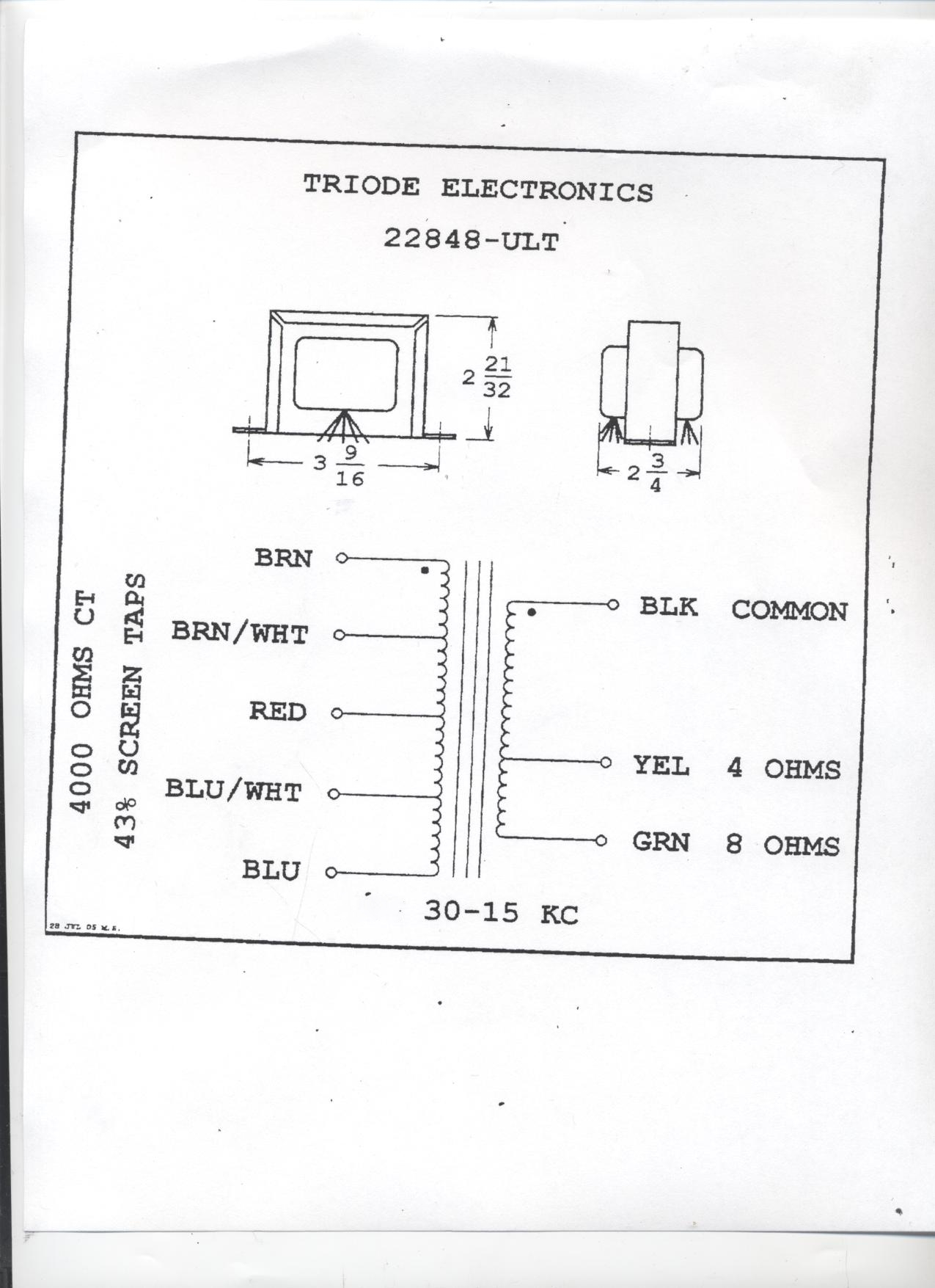 8 ohm speaker wiring diagrams thermo king tripac apu diagram 22848 ult bandmaster style ultra linear 30w output