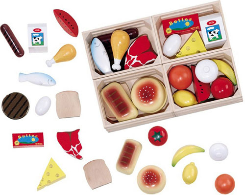 Mix and match to make a meal! Well-balanced wooden food set with all 4 food groups individually boxed in wooden crates for storage sorting and stacking.</p data-recalc-dims=
