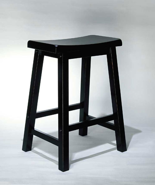 """Founded in 1968   has been a leading importer of design driven  high quality products for nearly 40 years. The Company`s success is a result of its service-oriented culture  broad product offerings and an industry wide reputation for reliability  integrity and honesty. This counter stool is made from solid tropical hard wood and is finished in """"Antique Black"""" with sand through terra cotta  to easily match todays kitchens. The seat features a wide scoop for added comfort. Some assembly required.Dimensions: 17-1/2"""" x 14-1/4"""" x 24"""" tall  Seat Height: 24""""  It may take an additional 1-2 weeks for this item to arrive."""