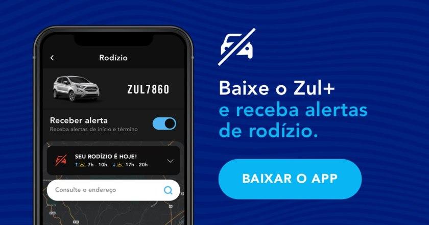 Banner publicitário alerta de rodízio Zul mais