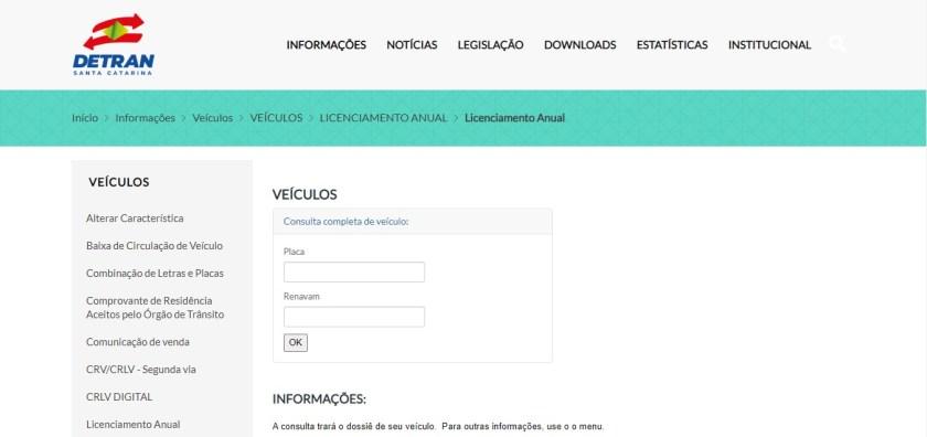 site do detran santa catarina consulta e pagamento do ipva