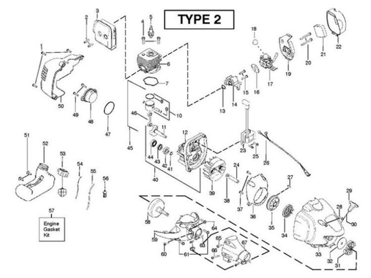 Partner B250 B GT (952715681) Trimmer ENGINE1 Spare Parts