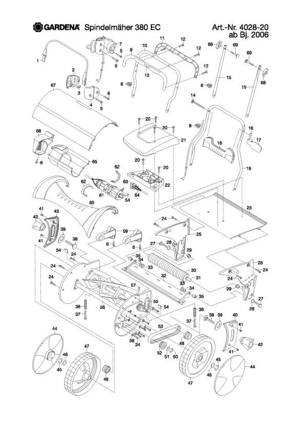 Gardena 380 EC (4028-20) Lawnmower PRODUCT COMPLETE Spare