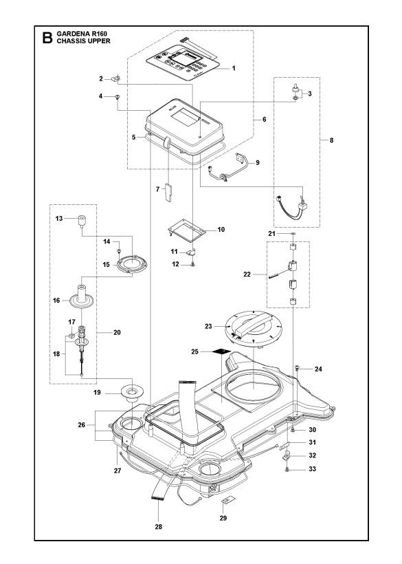 Gardena R160 (2015-01) Robotic Lawnmower CHASSIS UPPER