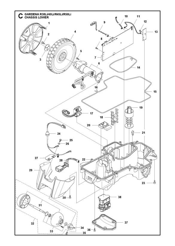 Gardena R50Li (2015-01) Robotic Lawnmower CHASSIS LOWER