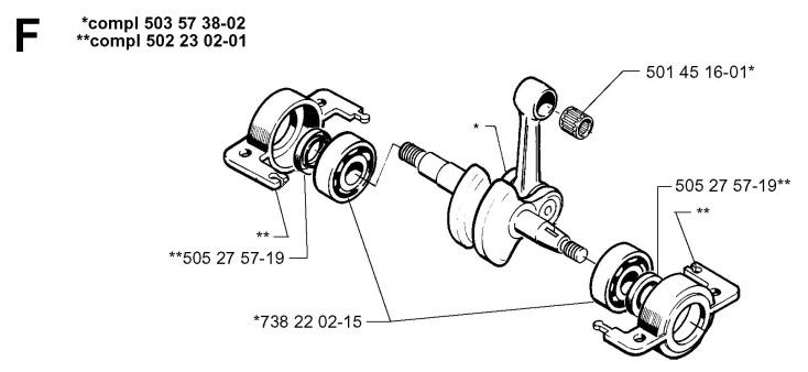 Husqvarna 240 R (1998-10) Trimmer CRANKSHAFT Spare Parts