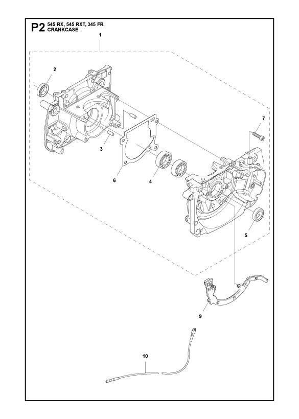Husqvarna 545 RX Trimmer CRANKCASE Spare Parts Diagram