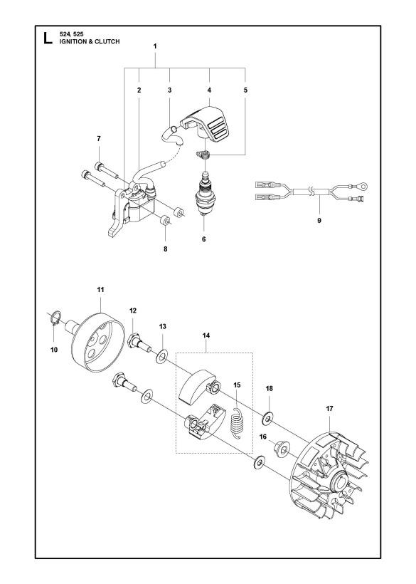 Husqvarna 525 LK Trimmer IGNITION SYSTEM & CLUTCH Spare