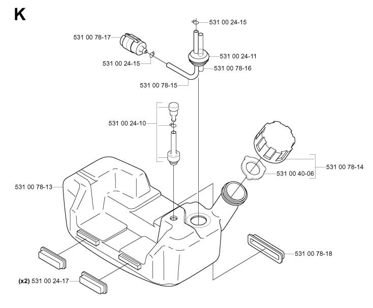 Husqvarna 143 R (2005-10) Trimmer FUEL TANK Spare Parts