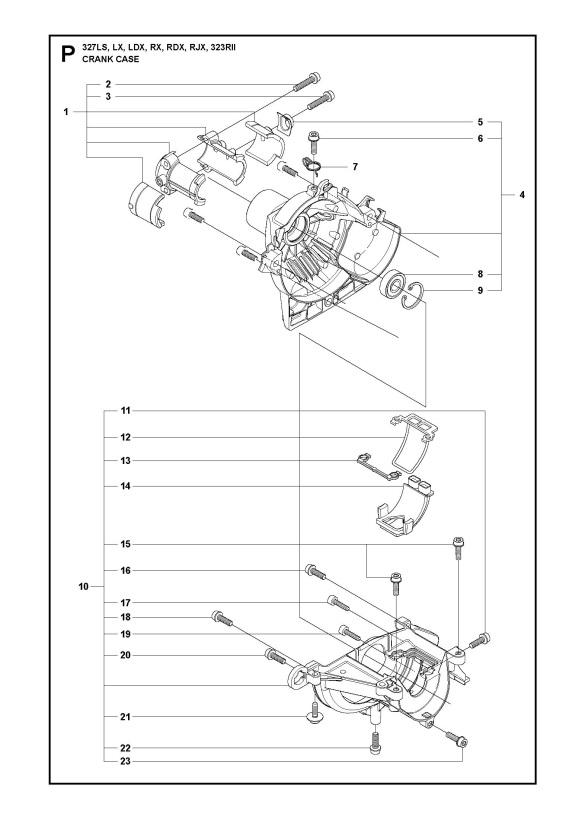 Husqvarna 323 RII (2009) Trimmer CRANKCASE Spare Parts Diagram