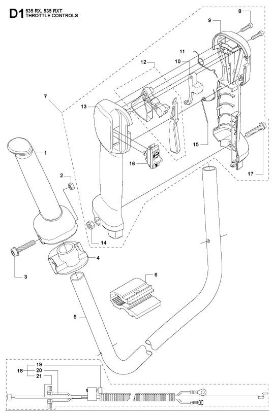 Husqvarna 535 RXT Trimmer THROTTLE CONTROLS Spare Parts