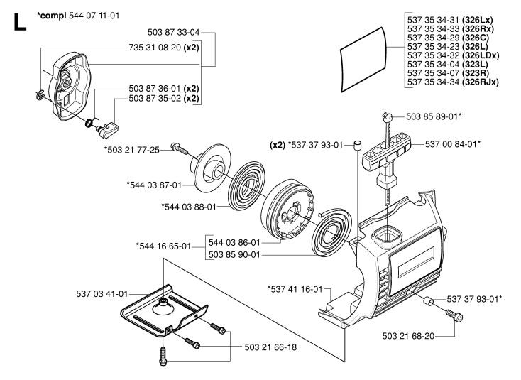 Husqvarna 323 L (2006-04) Trimmer STARTER Spare Parts Diagram