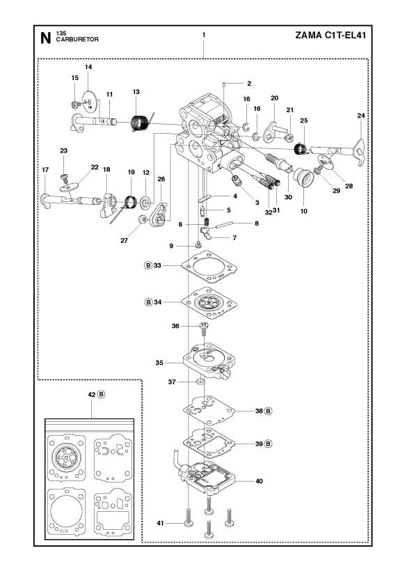 Husqvarna 135 (2011-08) Chainsaw CARBURETOR Spare Parts