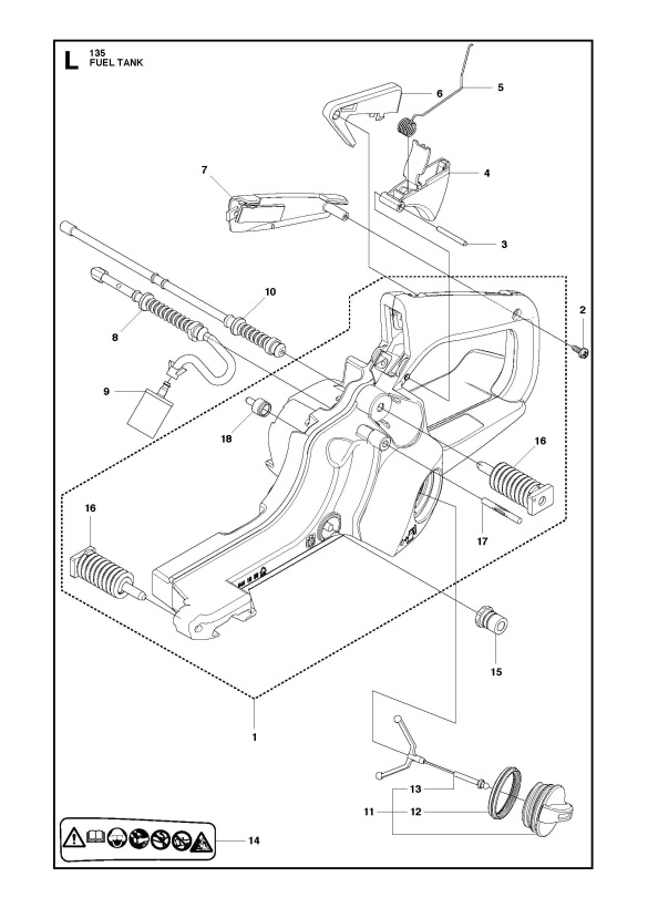 Husqvarna 135 (2011-08) Chainsaw FUEL TANK Spare Parts Diagram