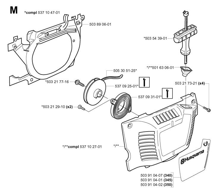 Husqvarna 340 (2001-09) Chainsaw STARTER Spare Parts Diagram