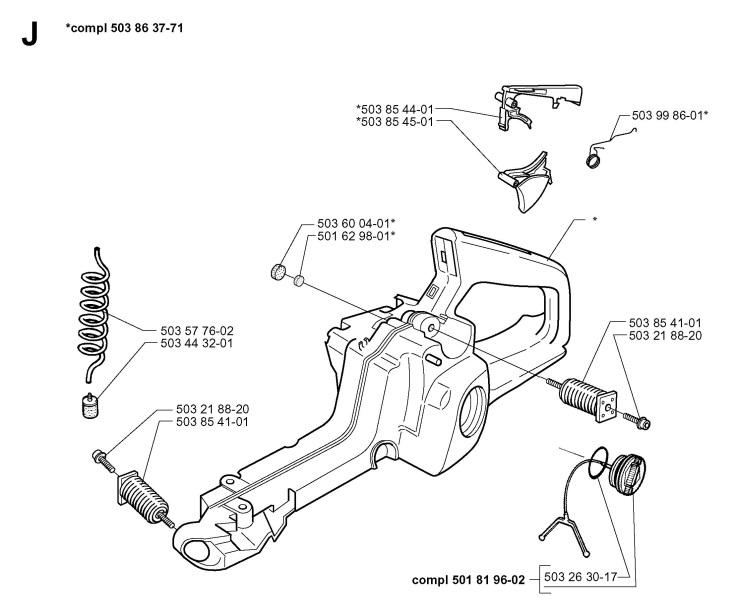Husqvarna 345 (1998-08) Chainsaw FUEL TANK Spare Parts Diagram